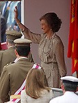 Spain's Queen Sofia greets during a military parade marking the Armed Forces Day on June 2, 2012 in Valladolid.(ALTERPHOTOS/Acero)