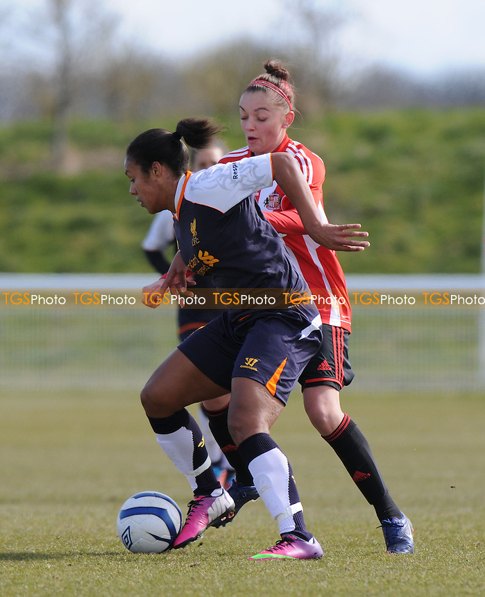 Liverpool's Lillie Fenlon-Billson battles with Keira Ranshaw of Sunderland - Sunderland Women vs Liverpool Women - FA Womens Cup Quarter-Final at the Academy of Light - 31/03/13 - MANDATORY CREDIT: Steven White/TGSPHOTO - Self billing applies where appropriate - 0845 094 6026 - contact@tgsphoto.co.uk - NO UNPAID USE.
