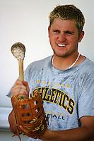 Jason Hart of the Modesto A's during a California League baseball game circa 1999. (Larry Goren/Four Seam Images)