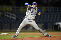 Indiana State Sycamores pitcher David Stagg (17) delivers a pitch during a game against the Vanderbilt Commodores on February 20, 2015 at Charlotte Sports Park in Port Charlotte, Florida.  Vanderbilt defeated Indiana State 3-2.  (Mike Janes/Four Seam Images)