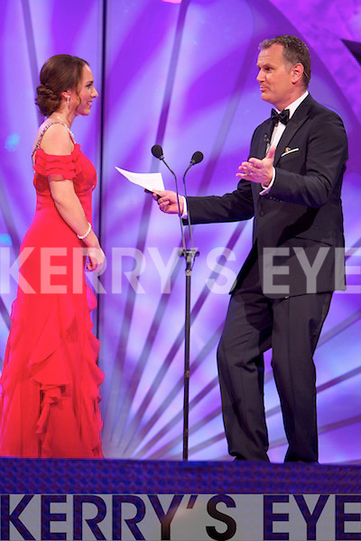 Washington DC Rose, Briana Apgar chats to presenter Dáithí Ó Sé during the Rose Selection on Monday night at the Dome.