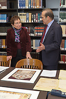Turkish Ambassador to the United States, His Excellency Namik Tan visit to Yale University. Tour of Sterling Memorial Library and presentation of Turkish Books.