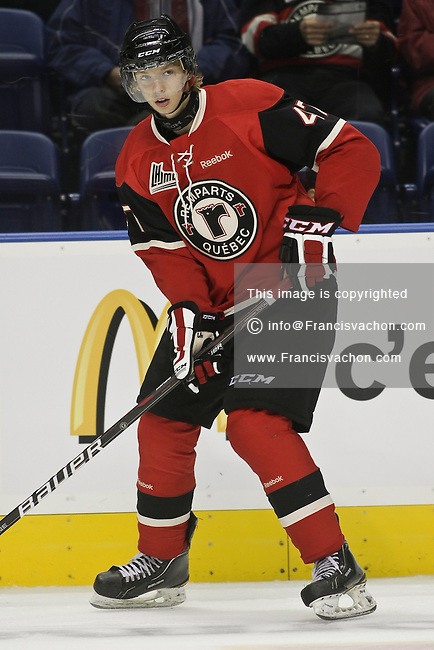 QMJHL (LHJMQ) hockey profile photo on Quebec Remparts Maxime Fortier September 30, 2012 at the Colisee Pepsi in Quebec city.