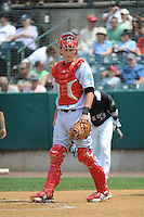 Reading Fightin Phils catcher Logan Moore (15) during game against the New Britain Rock Cats  at New Britain Stadium on July 13, 2014 in New Britain, CT. Reading defeated New Britain 6-4.  (Tomasso DeRosa/Four Seam Images)