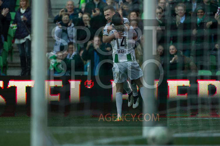(L-R), Albert Rusnak of FC Groningen, Mimoun Mahi of FC Groningen,