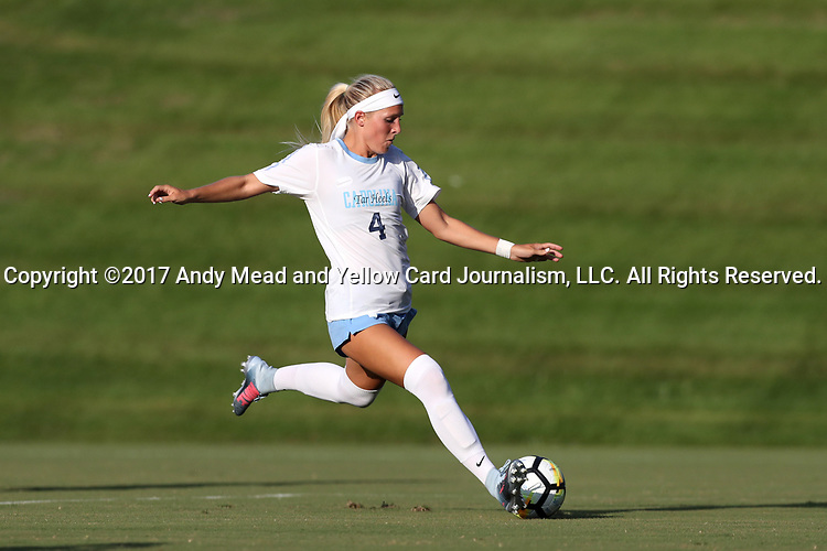 CARY, NC - AUGUST 18: North Carolina's Bridgette Andrzejewski. The University of North Carolina Tar Heels hosted the Duke University Blue Devils on August 18, 2017, at Koka Booth Stadium in Cary, NC in a Division I college soccer game.
