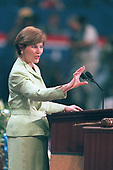 Texas First Lady Laura Bush speaks at the first night session of the Republican National Convention in Philadelphia, Pennsylvania July 31, 2000.  Her husband, Governor George W. Bush (Republican of Texas) is the Republican Party's nominee to run against Democrat Al Gore in the 2000 election.<br /> Credit: Phill Snel / Pool via CNP