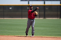 Arizona Diamondbacks second baseman Keshawn Lynch (7) makes a throw to first base during an Extended Spring Training game against the Cleveland Indians at the Cleveland Indians Training Complex on May 27, 2018 in Goodyear, Arizona. (Zachary Lucy/Four Seam Images)