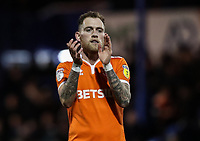 Blackpool's Harry Pritchard applauds his side's travelling supporters at the end of the match <br /> <br /> Photographer Andrew Kearns/CameraSport<br /> <br /> The EFL Sky Bet League One - Portsmouth v Blackpool - Saturday 12th January 2019 - Fratton Park - Portsmouth<br /> <br /> World Copyright &copy; 2019 CameraSport. All rights reserved. 43 Linden Ave. Countesthorpe. Leicester. England. LE8 5PG - Tel: +44 (0) 116 277 4147 - admin@camerasport.com - www.camerasport.com