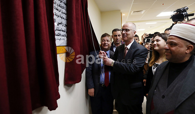 Palestinian Prime Minister Rami Hamdallah attends opening civil projects ceremony in the West Bank city of Tulkarm, February 9, 2019. Photo by Prime Minister Office