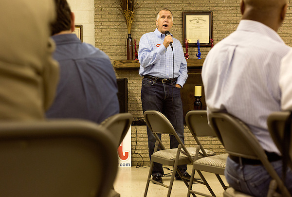 April 6, 2014. Durham, North Carolina.<br />   Thom Tillis, seen here addressing the crowd, is one of eight Republican candidates running for Democrat Kay Hagan's Senate seat.<br /> As the the primary scheduled for May 6th grows near, several of the the eight Republican candidates running for the US Senate seat of incumbent Democrat Kay Hagan have increased their public visibility, appearing at events such as the Durham County Lincoln Douglas Lunch, where each candidate was given a few minutes to address the gathered Republican friendly crowd.