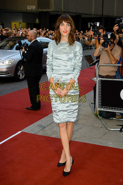 Alexa Chung<br /> GQ Men of the Year Awards 2013 at the Royal Opera House, London, England.<br /> September 3rd, 2013<br /> full length blue grey gray crushed dress<br /> CAP/CJ<br /> &copy;Chris Joseph/Capital Pictures
