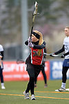 GER - Mainz, Germany, March 20: During the 1. Bundesliga Damen lacrosse match between Mainz Musketeers (white) and SC Frankfurt 1880 (red) on March 20, 2016 at Sportgelaende Dalheimer Weg in Mainz, Germany. Final score 7-12 (HT 3-5). (Photo by Dirk Markgraf / www.265-images.com) *** Local caption *** Josephine Bauch #38 of SC Frankfurt 1880