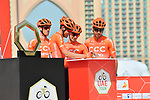 CCC Team sign on before the start of Stage 4 of the 2019 UAE Tour, running 197km form The Pointe Palm Jumeirah to Hatta Dam, Dubai, United Arab Emirates. 26th February 2019.<br /> Picture: LaPresse/Massimo Paolone | Cyclefile<br /> <br /> <br /> All photos usage must carry mandatory copyright credit (© Cyclefile | LaPresse/Massimo Paolone)