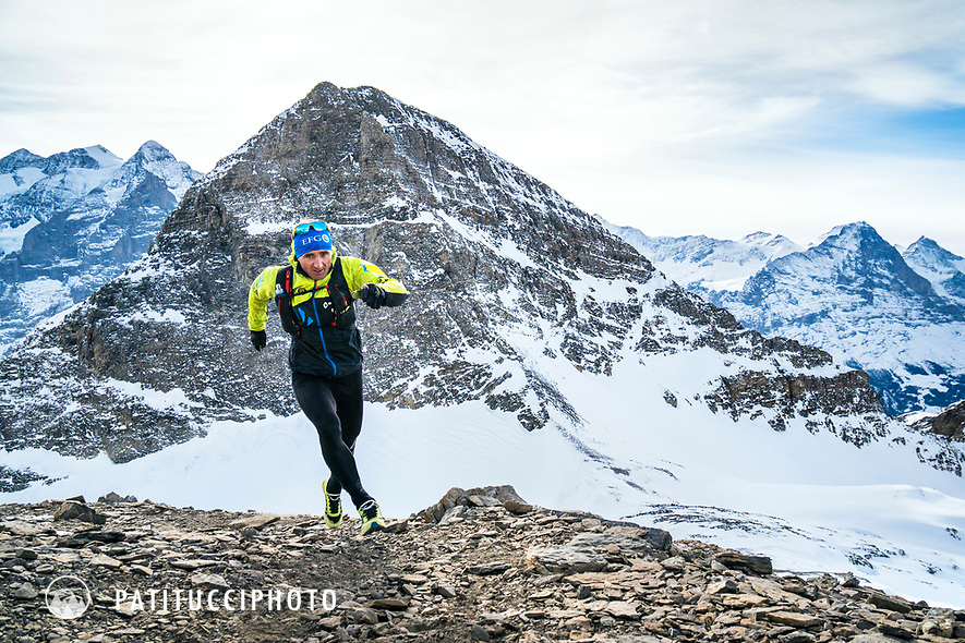 Ueli Steck winter trail running in the Swiss Alps above Grindelwald, Switzerland