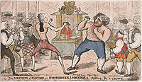 BNPS.co.uk (01202 558833)<br /> Pic: AmberleyBooks/BNPS<br /> <br /> Prime Minister William Pitt (left) and his great rival Charles James Fox were portrayed as 'fighting for a crown', during the Regency Crisis.<br /> <br /> These full-blooded political skirmishes of a bygone age make today's Brexit infused disorder in the Commons seem almost tame by comparison.<br /> <br /> Historian Eugene Wolfe has charted the history of discord in British politics over the past 400 years in his new book, Parliamentary Violence in the United Kingdom.<br /> <br /> He has listed over 800 incidents were tensions have got out of hand, with some leading to sword duels between MPs and brawls on the floor.<br /> <br /> One former prime minister, William Pitt, even challenged a political rival to a gun duel on Putney Heath.