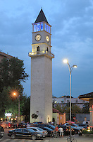 The Clock Tower of Tirana or Kulla e Sahatit, 35m high, built in 1822 by Haxhi Et'hem Bey, Tirana, Albania. Tirana was founded by the Ottomans in 1614 by Sulejman Bargjini and became the capital of Albania in 1920. Picture by Manuel Cohen
