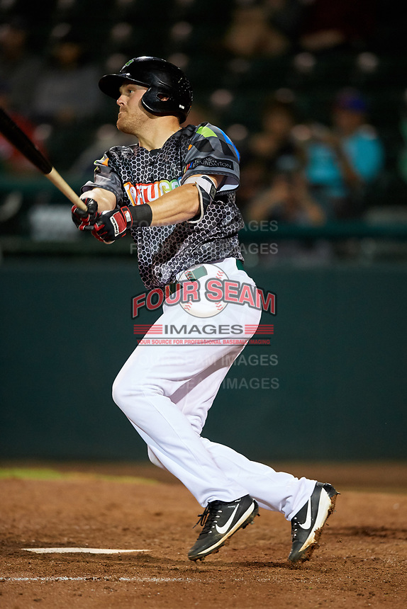 Daytona Tortugas third baseman Mitch Nay (34) follows through on a swing during a game against the Jupiter Hammerheads on April 13, 2018 at Jackie Robinson Ballpark in Daytona Beach, Florida.  Daytona defeated Jupiter 9-3.  (Mike Janes/Four Seam Images)