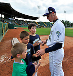 19 June 2008: Vermont Lake Monsters pitcher Brad Peacock signs autographs prior to a game against the Oneonta Tigers at historic Centennial Field in Burlington, Vermont. The Tigers defeated the Lake Monsters 13-8 in the rubber match of their three-game season opening series in Vermont...Mandatory Credit: Ed Wolfstein Photo