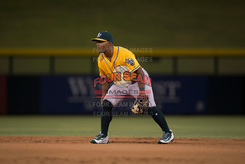 AZL Athletics second baseman Cobie Vance (16) during an Arizona League game against the AZL Cubs 1 at Sloan Park on June 28, 2018 in Mesa, Arizona. The AZL Athletics defeated the AZL Cubs 1 5-4. (Zachary Lucy/Four Seam Images)