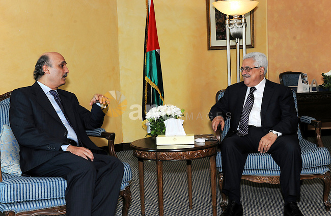 Palestinian president Mahmud Abbas meets with Samir Geagea in Beirut on August 17, 2011. Photo by Thaer Ganaim
