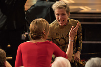 Frances McDormand celebrates winning the Oscar&reg; for performance by an actress in a leading role for work on &ldquo;Three Billboards Outside Ebbing, Missouri&rdquo; during the live ABC Telecast of The 90th Oscars&reg; at the Dolby&reg; Theatre in Hollywood, CA on Sunday, March 4, 2018.<br /> *Editorial Use Only*<br /> CAP/PLF/AMPAS<br /> Supplied by Capital Pictures