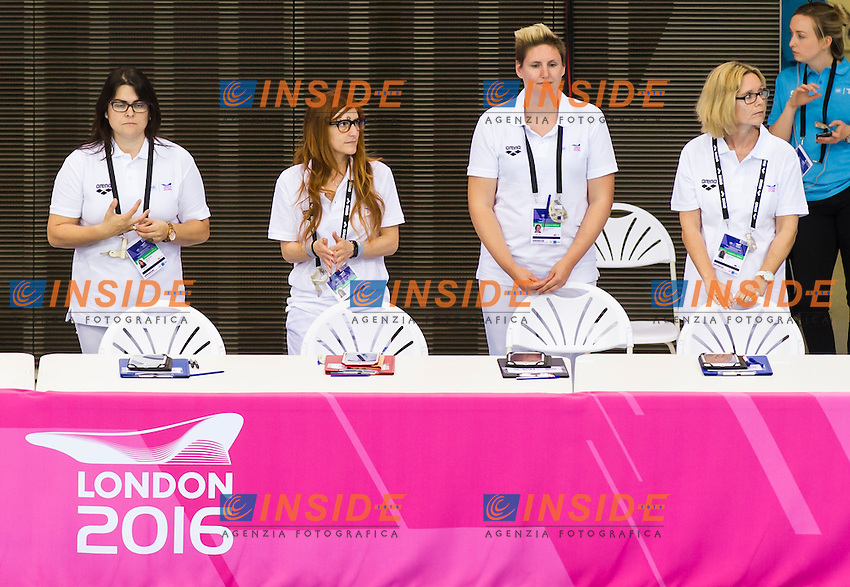 Judges<br /> London, Queen Elizabeth II Olympic Park Pool <br /> LEN 2016 European Aquatics Elite Championships <br /> Synchro<br /> Team technical final <br /> Day 01 09-05-2016<br /> Photo Giorgio Perottino/Deepbluemedia/Insidefoto