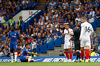 Callum Robinson of Sheffield United pleads his innocence during the Premier League match between Chelsea and Sheff United at Stamford Bridge, London, England on 31 August 2019. Photo by Carlton Myrie / PRiME Media Images.