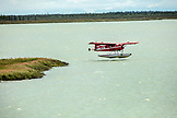 USA, Alaska, Redoubt Bay, Big River Lake, a float plane departing from Redoubt Bay