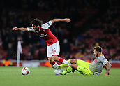 14th September 2017, Emirates Stadium, London, England; UEFA Europa League Group stage, Arsenal versus FC Cologne; Mohamed Elneny of Arsenal is fouled by Marco Hoger of FC Koln and is awarded a free kick