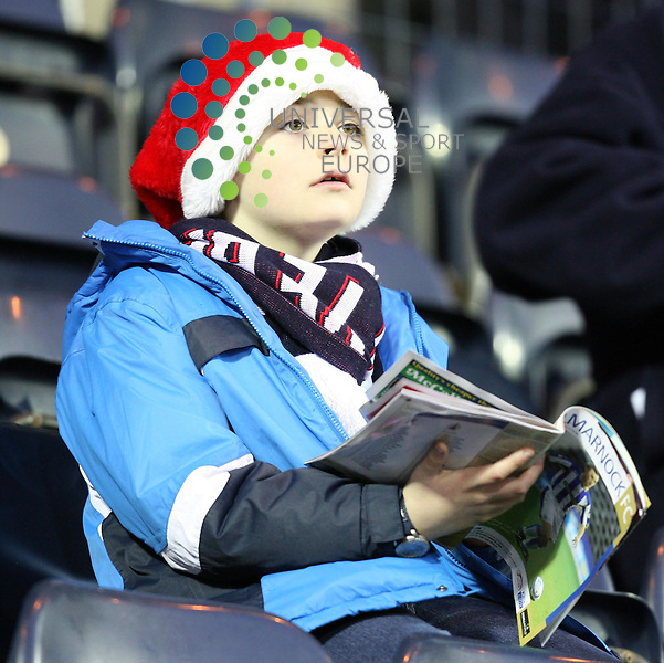 A young Falkitk fan is ready for the festive football period during the Scottish Premier League match between Kilmarnock and Falkirk 19/12/09..Picture by Ricky Rae/universal News & Sport (Scotland).