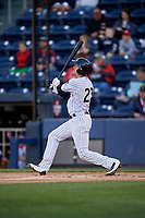 Scranton/Wilkes-Barre RailRiders second baseman Tyler Wade (23) bats during a game against the Pawtucket Red Sox on May 15, 2017 at PNC Field in Moosic, Pennsylvania.  Scranton defeated Pawtucket 8-4.  (Mike Janes/Four Seam Images)