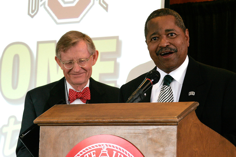 Ohio University Dr. McDavis speaking at the pre-football game brunch with Ohio State University's President E. Gordon Gee at Drake Center at Ohio State University  Saturday September 6, 2008. In attendance included, alumni, the OSU President E. Gordon Gee, OU President Dr. Roderick McDavis, Vern Alden, Ohio Governor Ted Strickland  and U.S. Senator George Voinovich (R-OH).  (Christina Paolucci)