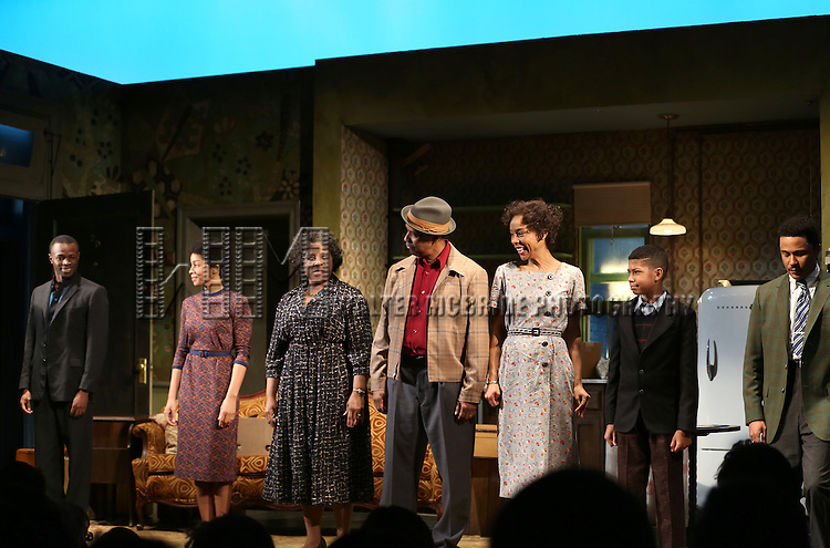 "Sean Patrick Thomas, Anika Noni Rose, LaTanya Richardson, Denzel Washington, Sophie Okonedo, Bryce Clyde Jenkins and Jason Dirden during the Broadway Opening Night Curtain Call for  ""A Raisin In The Sun""  at the Barrymore Theatre on April 3, 2014 in New York City."