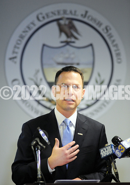Pennsylvania Attorney General Josh Shapiro speaks with the media after 5 arrests in a child sexual predator ring during a news conference announcing the arrests of Sunday, January 29, 2017 in Warminster, Pennsylvania. (WILLIAM THOMAS CAIN / For The Philadelphia Inquirer)