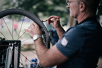 team mechanic getting a new set of wheels ready on the 1st restday of Team Quickstep Floors (in the Dordogne)<br /> <br /> 104th Tour de France 2017<br /> first restday