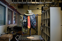 An early wearable technology vest stands in the Human Dynamics Laboratory in MIT's Media Lab in Cambridge, Massachusetts, USA.