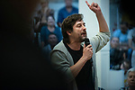 Rafa Mayoral, secretary of Civil Society and Popular Movement of Podemos;  in a meeting of Podemos with people in Madrid where they exchange points of view, listen to concerns and draw shared horizons.<br /> October 5, 2019. <br /> (ALTERPHOTOS/David Jar)