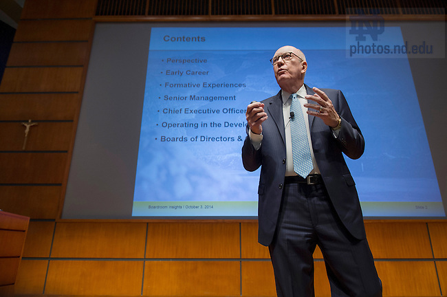 "Oct. 3, 2014; Wayne Murdy, retired chairman & former CEO of Newmont Mining Corporation, speaks in Jordan Auditorium as part of the Mendoza College of Business ""Boardroom Insights"" lecture series. (Photo by Barbara Johnston/University of Notre Dame)"