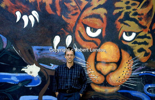 Ray Manzarek of The Doors in front of Venice Beach mural while filming the music video for L.A. Woman in 1984
