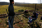 Aaron and Shayna Rehberg, settlers in the unauthorized Israeli outpost of Tekoa D, West Bank, near their vegetable and herb plots.