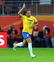 Marta of team Brazil celebrates during the FIFA Women's World Cup at the FIFA Stadium in Wolfsburg, Germany on July 3rd, 2011.