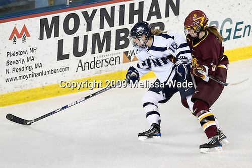 Micaela Long (UNH - 16), ? - The University of Minnesota-Duluth Bulldogs defeated the University of New Hampshire Wildcats 4-1 in their NCAA Quarterfinal meeting on Saturday, March 14, 2009, at the Whittemore Center in Durham, New Hampshire.