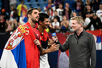 12th January 2020; Sydney Olympic Park Tennis Centre, Sydney, New South Wales, Australia; ATP Cup Australia, Sydney, Day 10; Serbia versus Spain; Jim Courier interviews Novak Djokovic and Viktor Troicki of Serbia after Team Serbia win the ATP Cup - Editorial Use
