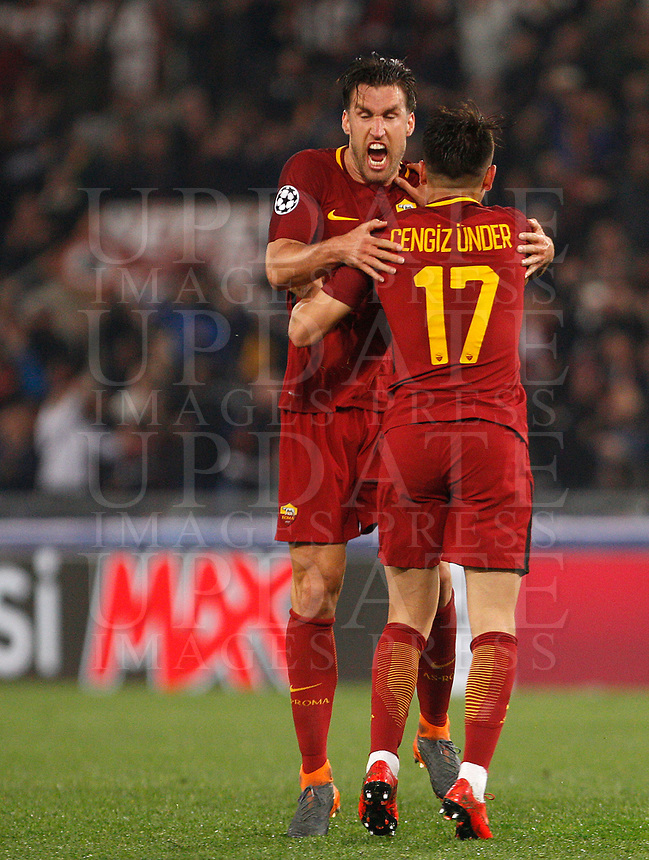 Roma s Cengiz Under, right, and Kevin Strootman celebrate at the end of the Uefa Champions League quarter final second leg football match between AS Roma and FC Barcelona at Rome's Olympic stadium, April 10, 2018. Roma won 3-0 (4-4 on aggregate) to join the semifinals.<br /> UPDATE IMAGES PRESS/Riccardo De Luca