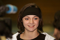 Anna Bessonova of Ukraine smiles during tv press interview before 2006 Deriugina Cup Grand Prix at Kiev, Ukraine on March 16. (Photo by Tom Theobald)
