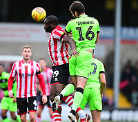 Lincoln City's John Akinde vies for possession with  Forest Green Rovers' Gavin Gunning<br /> <br /> Photographer Andrew Vaughan/CameraSport<br /> <br /> The EFL Sky Bet League Two - Lincoln City v Forest Green Rovers - Saturday 3rd November 2018 - Sincil Bank - Lincoln<br /> <br /> World Copyright © 2018 CameraSport. All rights reserved. 43 Linden Ave. Countesthorpe. Leicester. England. LE8 5PG - Tel: +44 (0) 116 277 4147 - admin@camerasport.com - www.camerasport.com