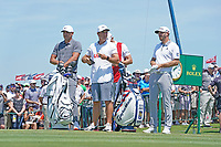 Brooks Koepka (USA) and Dustin Johnson (USA) wait to tee off on the first hole during his final round of the 118th U.S. Open Championship at Shinnecock Hills Golf Club in Southampton, NY, USA. 17th June 2018.<br /> Picture: Golffile | Brian Spurlock<br /> <br /> <br /> All photo usage must carry mandatory copyright credit (&copy; Golffile | Brian Spurlock)