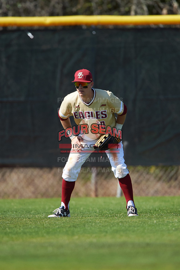 Boston College Eagles left fielder Michael Strem (10) during a game against the Central Michigan Chippewas on March 3, 2017 at North Charlotte Regional Park in Port Charlotte, Florida.  Boston College defeated Central Michigan 5-4.  (Mike Janes/Four Seam Images)