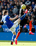 Caglar Soyuncu of Leicester City challenges Tammy Abraham of Chelsea during the Premier League match at the King Power Stadium, Leicester. Picture date: 1st February 2020. Picture credit should read: Darren Staples/Sportimage